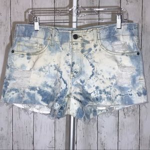 Custom Bleached and Distressed Jean Shorts Size L